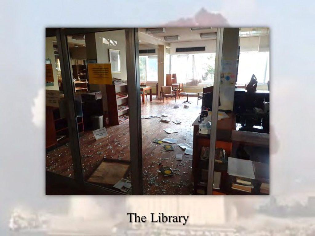 La NEST, faculté de théologie de Beyrouth, sévèrement touchée par l'explosion.